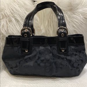 Coach Soho Pleated Signature Black Canvas  Bag